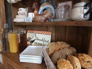 Home baked bread & scones and a variety of juices